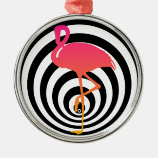Beautiful flamingo in circles christmas ornament