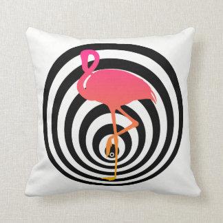 Beautiful flamingo in circles cushion