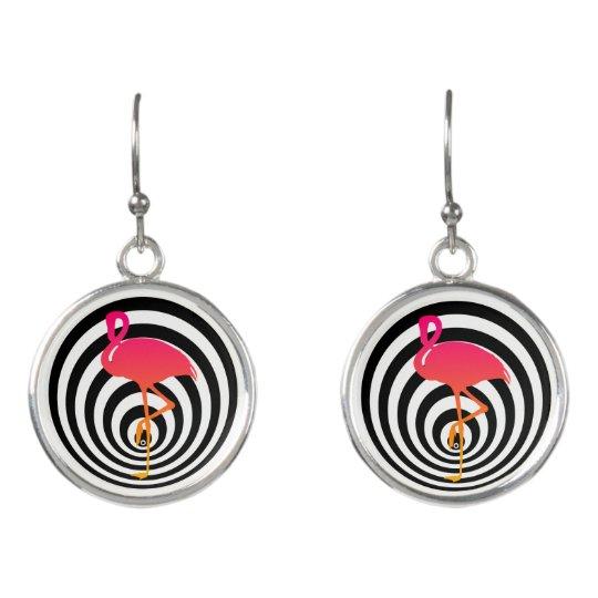 Beautiful flamingo in circles earrings
