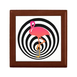 Beautiful flamingo in circles gift box
