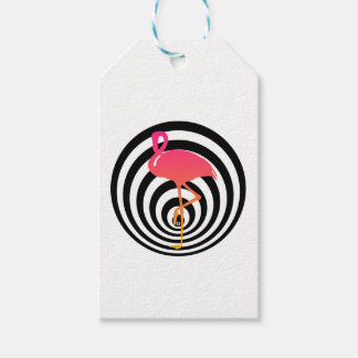 Beautiful flamingo in circles gift tags