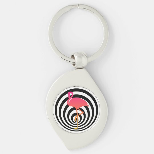 Beautiful flamingo in circles key ring