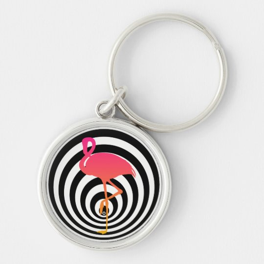 Beautiful flamingo in circles key ring
