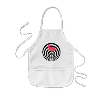 Beautiful flamingo in circles kids apron