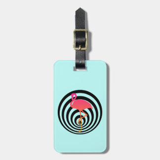 Beautiful flamingo in circles luggage tag
