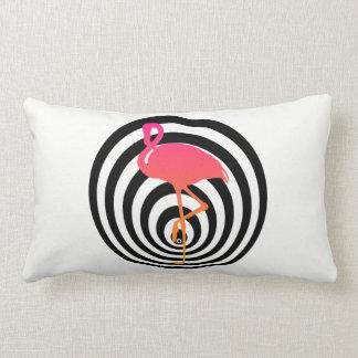 Beautiful flamingo in circles lumbar cushion
