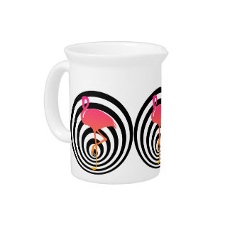 Beautiful flamingo in circles pitcher