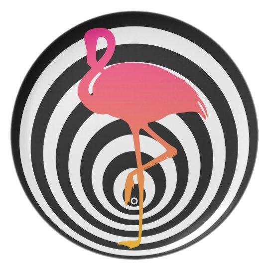 Beautiful flamingo in circles plate