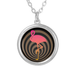Beautiful flamingo in circles silver plated necklace
