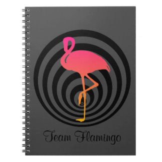 Beautiful flamingo in circles spiral notebook