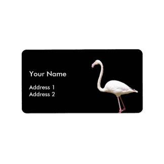 Beautiful Flamingo on Black - Address Label