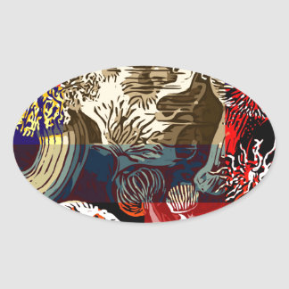 Beautiful Floral Abstract Oval Sticker