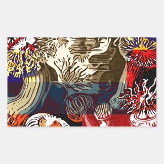 Beautiful Floral Abstract Rectangular Sticker