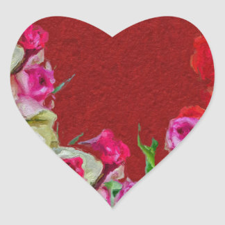 Beautiful Floral Abstract Red Heart Sticker