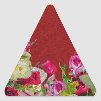 Beautiful Floral Abstract Red Triangle Sticker
