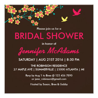 Beautiful Floral and Bird Bridal Shower Invitation