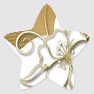 Beautiful floral background design star stickers