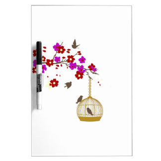 Beautiful Floral Birdcage Design Dry Erase Boards