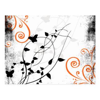 Beautiful Floral Black and White Orange Swirls Art Postcard