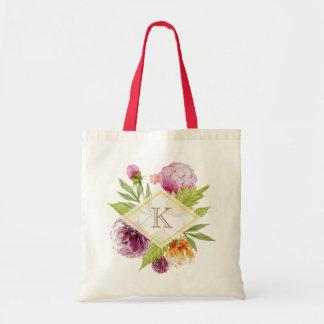 Beautiful Floral Blossom Monogram Initials Decor Budget Tote Bag
