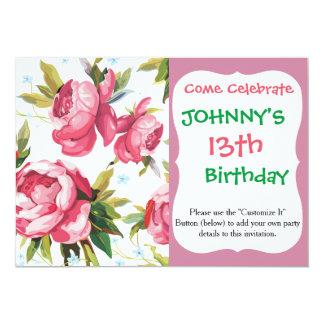 Beautiful Floral Bouquet  Pink Flowers Patterns 13 Cm X 18 Cm Invitation Card