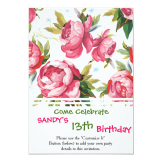 Beautiful Floral Bouquet  Pink Flowers Patterns 13 Cm X 18 Cm Invitation Card