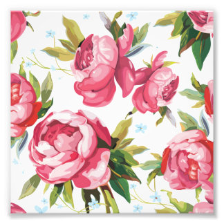 Beautiful Floral Bouquet  Pink Flowers Patterns Photographic Print