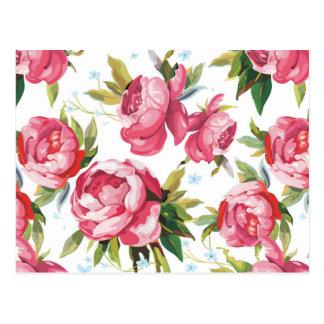 Beautiful Floral Bouquet  Pink Flowers Patterns Postcard