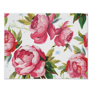 Beautiful Floral Bouquet  Pink Flowers Patterns Poster