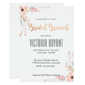 Beautiful Floral Bridal Brunch Invitation