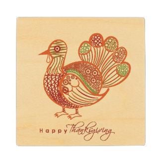 Beautiful Floral Decorated Shiny Turkey Bird Wood Coaster