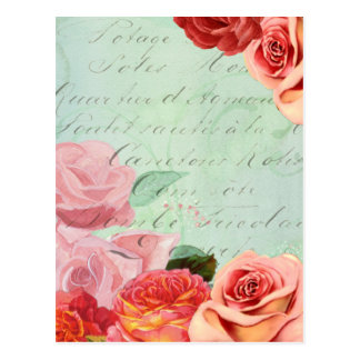 beautiful floral design Vintage Rose Postcard