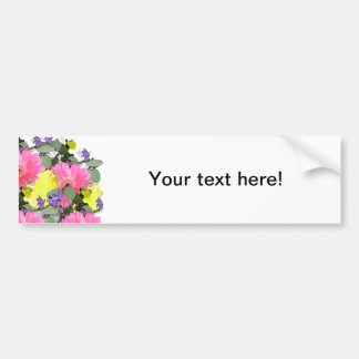 Beautiful floral flower pattern pink yellow green car bumper sticker