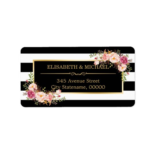 Beautiful Floral Gold Decor Black White Stripes Address