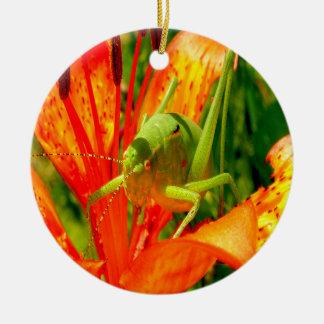 Beautiful Floral Grasshopper Ornament