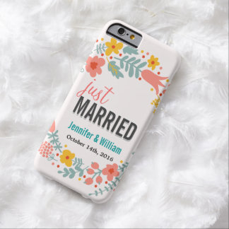 Beautiful Floral Just Married Wedding Celebration Barely There iPhone 6 Case