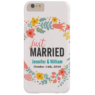 Beautiful Floral Just Married Wedding Celebration Barely There iPhone 6 Plus Case