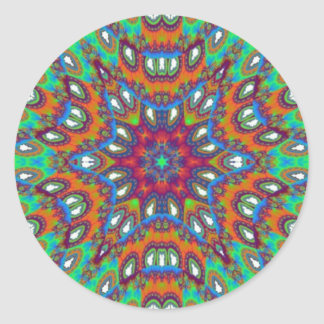 Beautiful Floral Kaleidoscope Classic Round Sticker