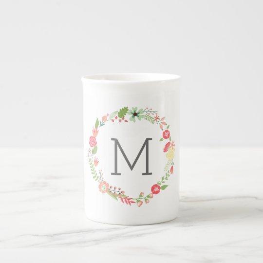 Beautiful Floral Monogram Bone China Mug