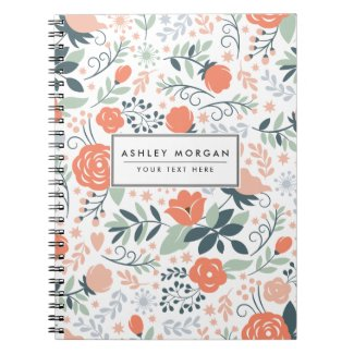 Beautiful Floral Pattern Girly Notebook