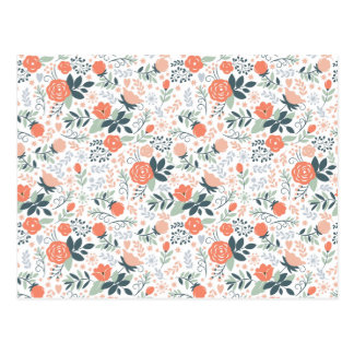 Beautiful Floral Pattern Girly Postcard