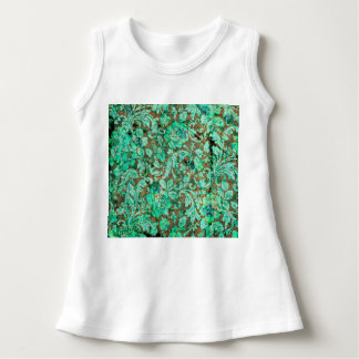 Beautiful floral pattern in green infant dress