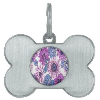 Beautiful Floral Pattern Pet ID Tag