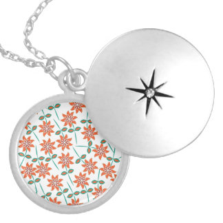 Beautiful Floral Pattern Silver Plated Necklace