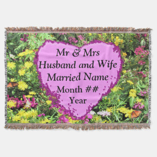 BEAUTIFUL FLORAL PERSONALIZED WEDDING BLANKET