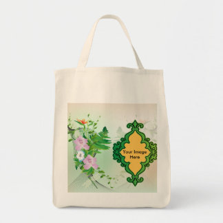 Beautiful floral photo template tote bags