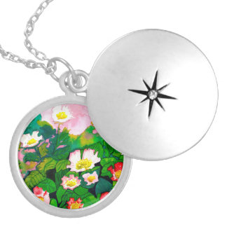 Beautiful Floral Rose Watercolour Pendant Locket