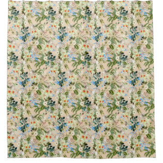 Beautiful Floral Textile Blue Rose and White Lilli Shower Curtain