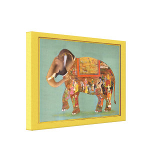 Beautiful Floral Vintage Fine Painted Elephant Gallery Wrap Canvas