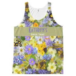 Beautiful Floral Wedding Shower or Bachelorette All-Over Print Tank Top